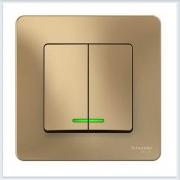 Blanca Титан Выключатель 2-клавишный с подсветкой, 10А, 250B