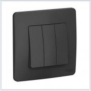 Blanca Антрацит Выключатель 3-клавишный, 10А, 250B