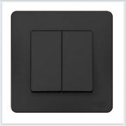 Blanca Антрацит Переключатель 2-клавишный, 10А, 250B