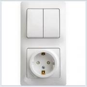 Блок: розетка с заземлением со шторками и 2-кл. выключатель Glossa Белый GSL000174