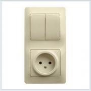 Блок: розетка и 2-кл. выключатель Glossa Бежевый GSL000272
