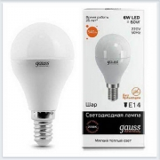 Лампа светодиодная шар 6W E14 3000K gauss Elementary 53116 - купить лампу