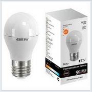 Лампа светодиодная шар 6W E27 3000K gauss Elementary 53216 - купить лампу