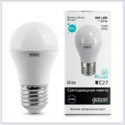 Лампа светодиодная шар 6W E27 4100K gauss Elementary 53226 - купить лампу