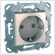 Розетка 1-ая с заземлением цвет Бежевый Schneider-Electric Unica - MGU5.036.25ZD