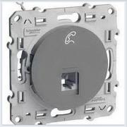 Розетка ТЛФ RJ12 6 контакт Алюминий Schneider-Electric Коллекция Odace арт. S53R497