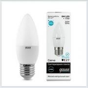 Лампа светодиодная свеча 8W E27 4100K gauss Elementary 33228 - купить лампу
