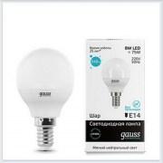 Лампа светодиодная шар 8W E14 4100K gauss Elementary 53128 - купить лампу