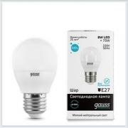 Лампа светодиодная шар 8W E27 4100K gauss Elementary 53228 - купить лампу
