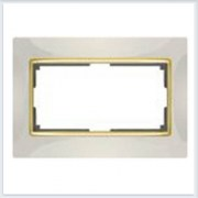 Рамка для двойной розетки Werkel Коллекция Snabb слоновая кость/золото - WL03-Frame-01-DBL-ivory-GD