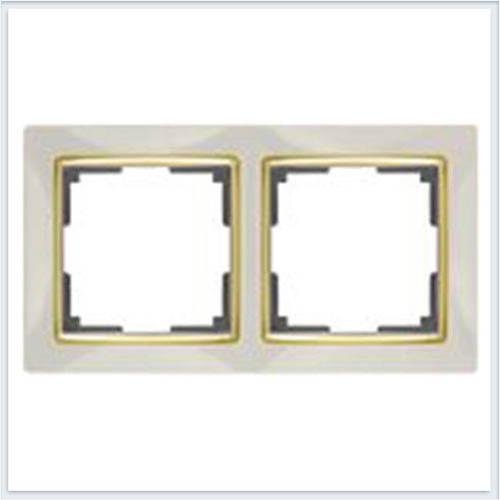 Werkel WL03-Frame-02-ivory-GD Рамка на 2 поста слоновая кость/золото