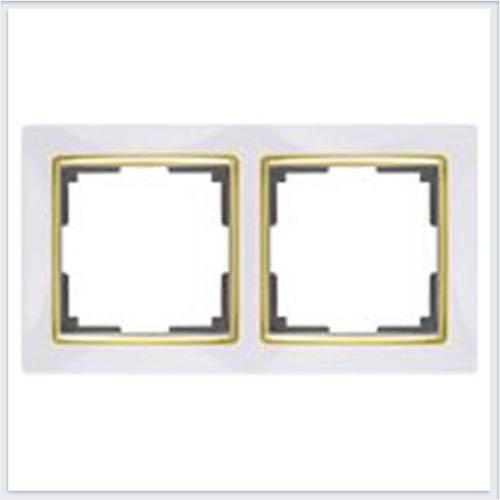 Werkel WL03-Frame-02-white-GD Рамка на 2 поста белый/золото