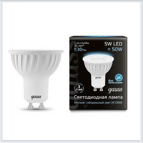 Лампа светодиодная Gauss 5W GU10 4100K матовая - 101506205