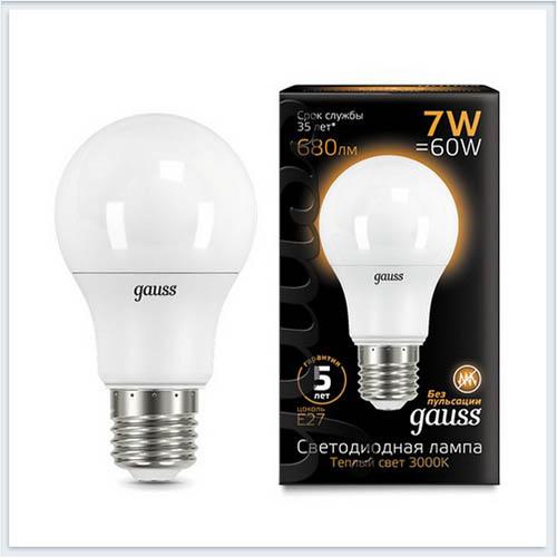 Лампа Gauss светодиодная шар LED A60 E27 7W 2700K - 102502107