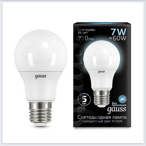 Лампа Gauss светодиодная шар LED A60 E27 7W 4100K - 102502207