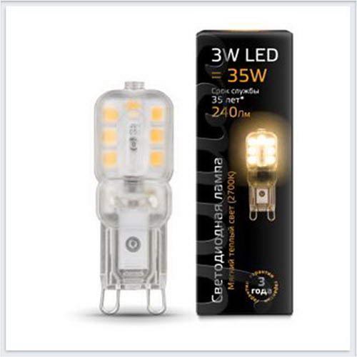 Лампа Gauss светодиодная LED патрон G9 AC220-240V 3W 2700K пластик - 107409103