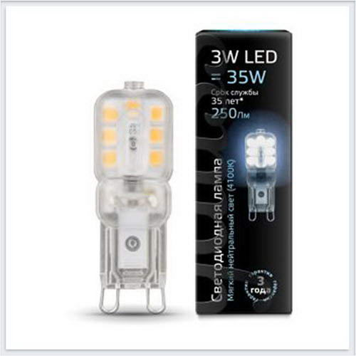 Лампа Gauss светодиодная LED патрон G9 AC220-240V 3W 4100K пластик - 107409203