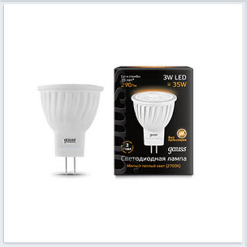 Лампа gauss светодиодная MR11 3W GU4 AC220-240V 2700K матовая - 132517103