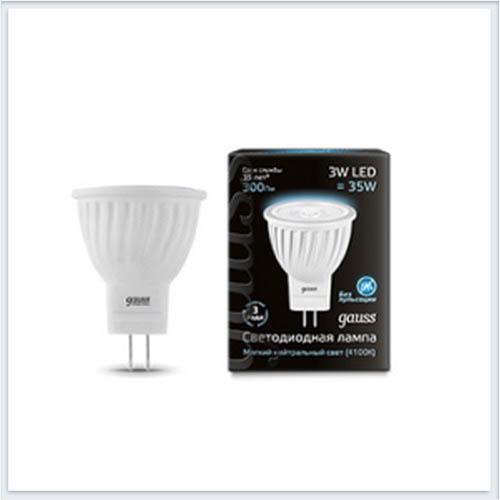 Лампа gauss светодиодная MR11 3W GU4 AC220-240V 4100K матовая - 132517203