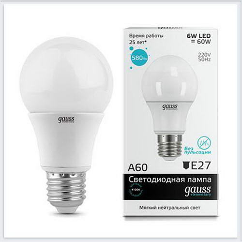 Лампа Gauss светодиодная Elementary шар E27 LED A60 6W 4100K - 23226