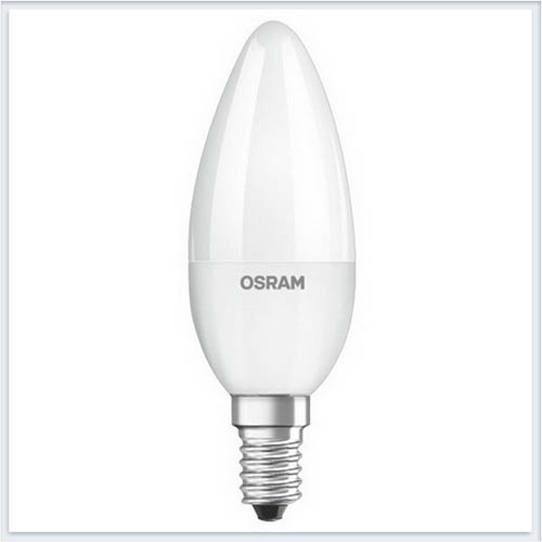 Лампа светодиодная Osram свеча B60 6.5W 3000K 220-240V FR E14 550lm - купить лампу