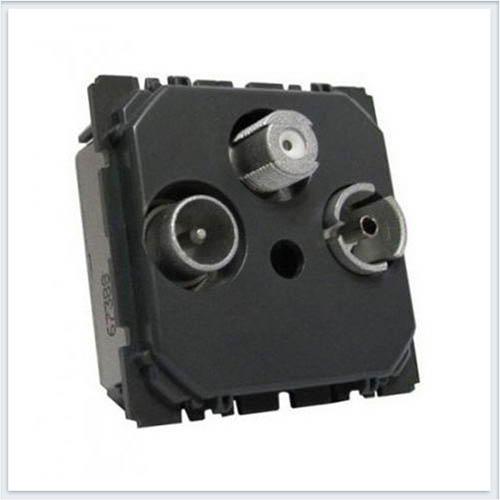 РозеткаTV-FM-SAT единственная 2 модуля подключение по 2-м кабелям Legrand Celiane 67389