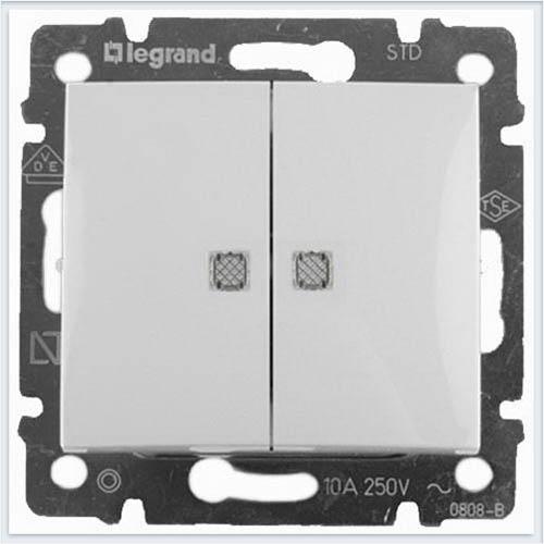 Выключатель 2-х клавишный с подсветкой Белый Legrand Valena 774428