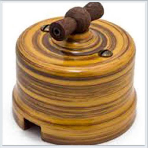 Bironi выключатель 1-кл. проходной фарфор, декор императорский бамбук B1-201-01/IB
