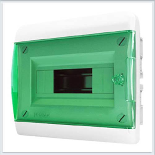 Щит встраиваемый 8 модулей зеленая дверь Tekfor - BVZ 40-08-1