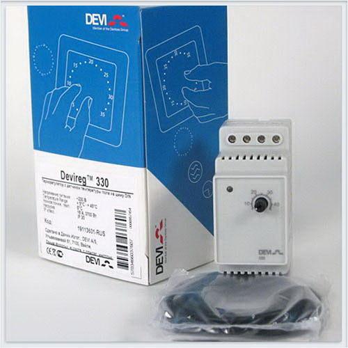 Devi Терморегулятор Д-330, +5°C-+45°C с датчиком на проводе. Арт. 140F1072