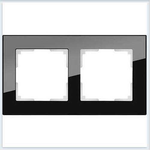 Рамка на 2 поста черное стекло Werkel (Веркель) Коллекция Favorit - WL01-Frame-02