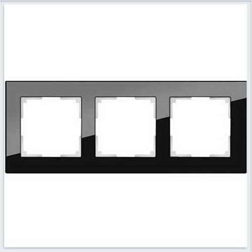 Рамка на 3 поста черное стекло Werkel (Веркель) Коллекция Favorit - WL01-Frame-03