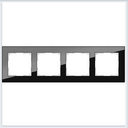 Рамка на 4 поста черное стекло Werkel (Веркель) Коллекция Favorit - WL01-Frame-04