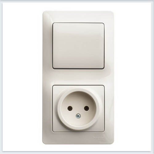 Блок: розетка и 1-кл. выключатель Glossa Бежевый GSL000260