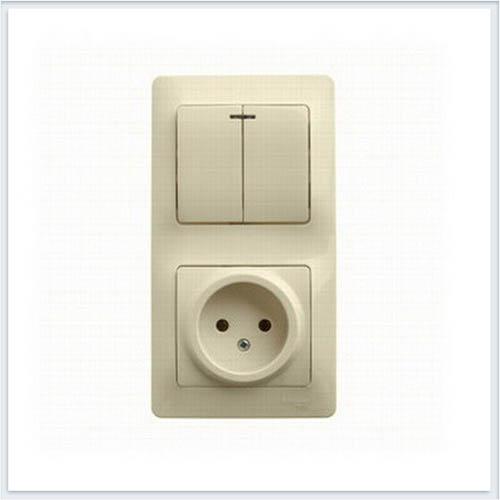 Блок: розетка и 2-кл. Выключатель с подсветкой Glossa Бежевый GSL000273