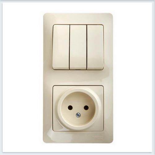 Блок: розетка и 3-кл. выключатель Glossa Бежевый GSL000276