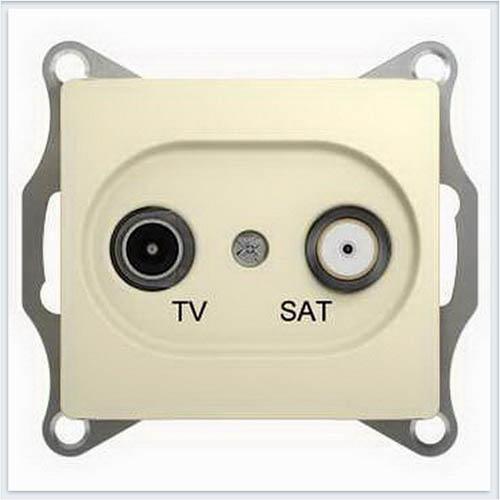 TV-SAT Розетка проходная 4DB Glossa Бежевый GSL000298