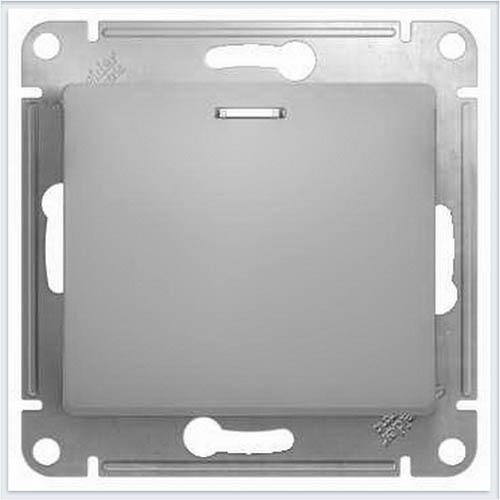 Кнопка нажимная с подсветкой Glossa Алюминий GSL000317