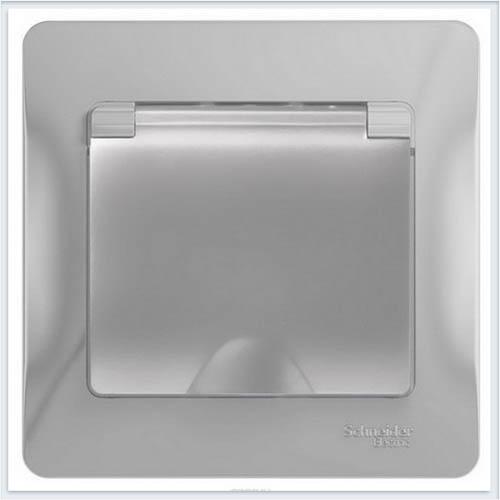 Розетка с заземлением со шторками с крышкой, IP20 в сборе с рамкой Glossa Алюминий GSL000346