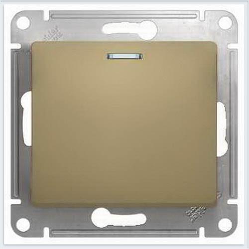 Кнопка нажимная с подсветкой, сх.1а Glossa Титан GSL000417