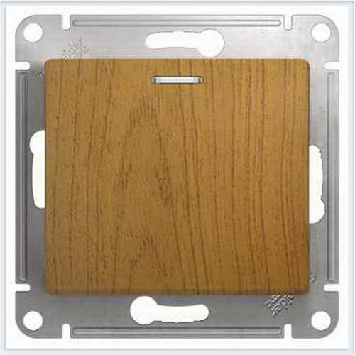 Переключатель 1-клавишный с подсветкой Дерево Дуб GSL000563