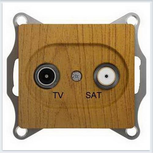 TV-SAT Розетка проходная 4DB Дерево Дуб GSL000598