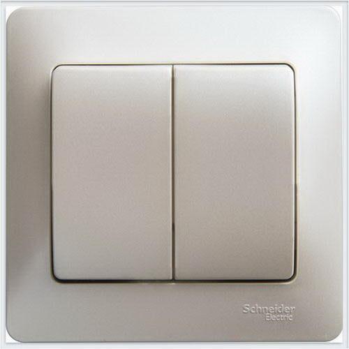 Выключатель 2-клавишный, 10АХ, в сборе Glossa Перламутр  GSL000652