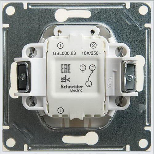 Переключатель 1-клавишный с подсветкой сх.6а, 10АХ Glossa Перламутр  GSL000663