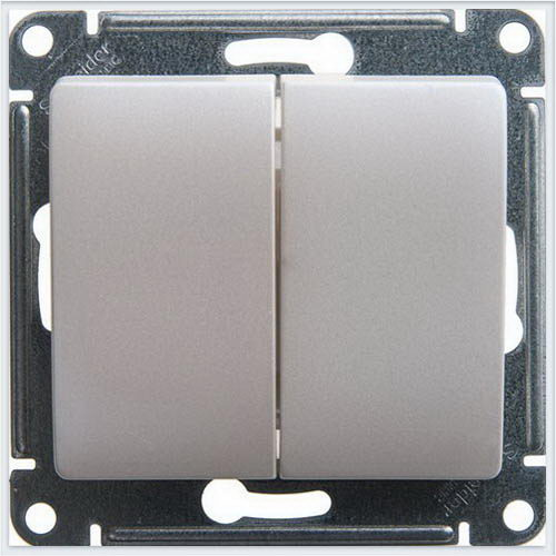 Переключатель 2-клавишный, 10АХ Glossa Перламутр  GSL000665