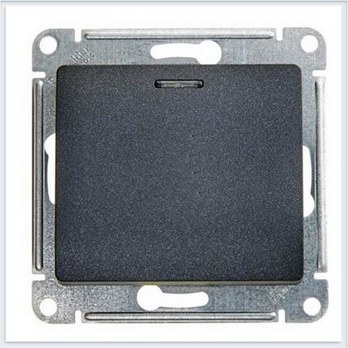 Переключатель 1-клавишный с подсветкой 10А Glossa Антрацит GSL000763