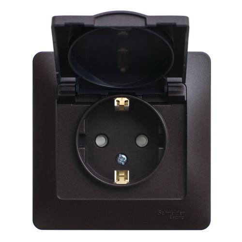 Розетка с заземлением со шторками с крышкой, 16А, IP20, в сборе Glossa Шоколад GSL000846