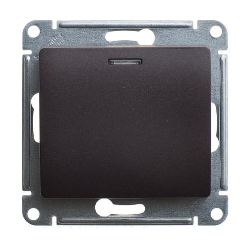 Переключатель 1-клавишный с подсветкой, 10А Glossa Шоколад GSL000863