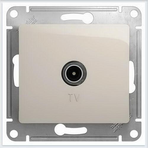 Розетка TV проходная 4DB, механизм Glossa Молочный GSL000992