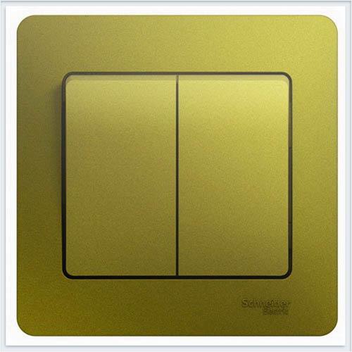 Выключатель 2-клавишный, в сборе Glossa Фисташковый  GSL001052